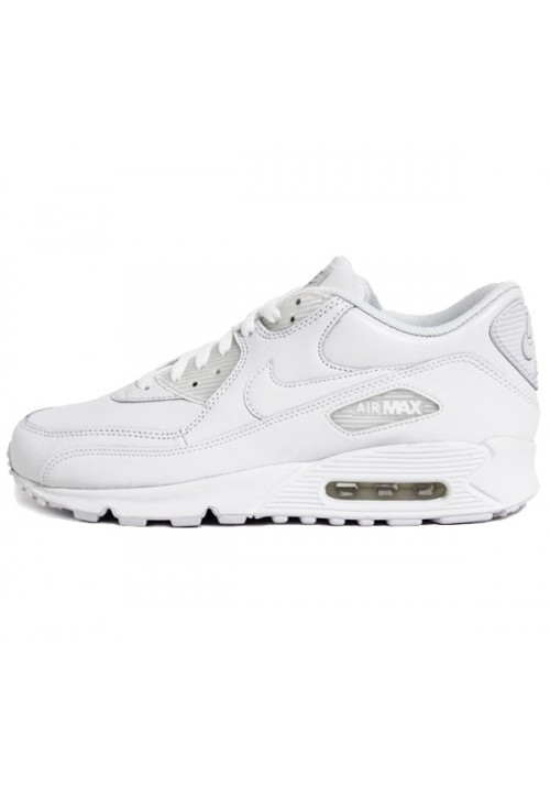 plus récent 22eb7 afe54 Nike Air Max 90 Blanche Cuir (Ref: 302519-113) Hommes Basket