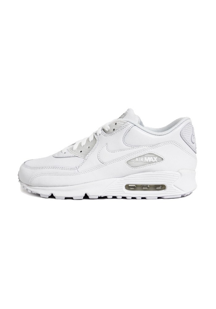 plus récent 938e7 fbe1f Nike Air Max 90 Blanche Cuir (Ref: 302519-113) Hommes Basket