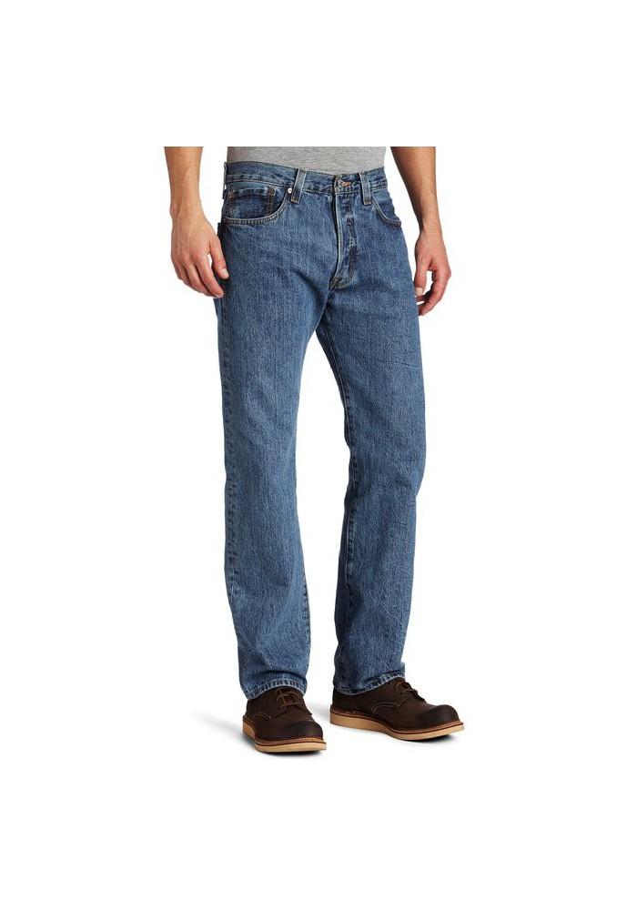 Levi's 501 Original Button Fly Medium Stonewashed Bleu Jeans 501-0193 Hommes