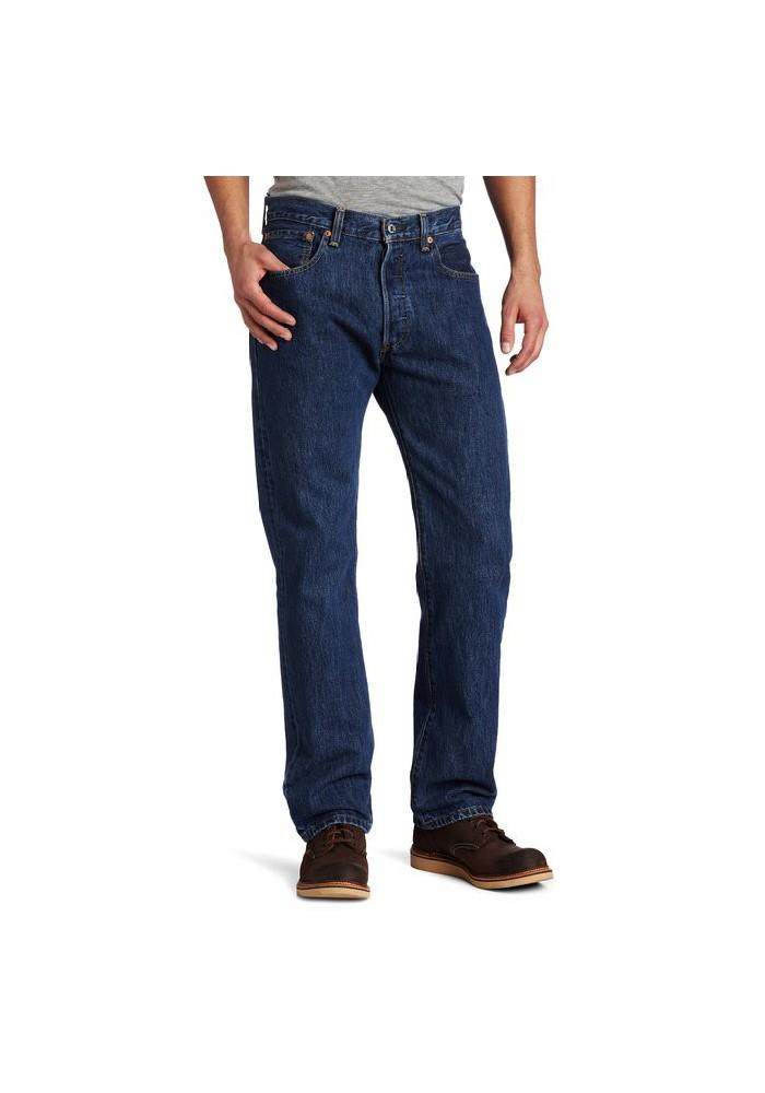 Levi's 501 Original Button Fly Dark Stonewashed Bleu Jeans 501-0194 Hommes